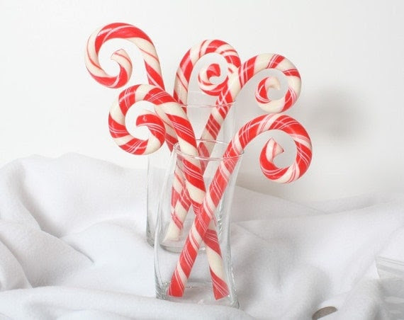 5 Custom Artisan Candy Canes, Skinny size, Your choice of color and flavor (all one color and flavor)