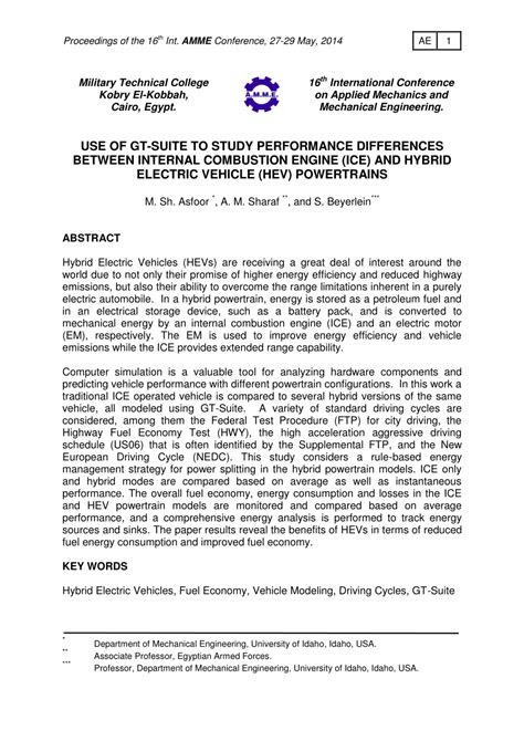 (PDF) USE OF GT-SUITE TO STUDY PERFORMANCE DIFFERENCES