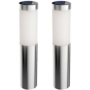 2 Packs Solar Bollard Pathway Lightsoutdoor Garden Decorative