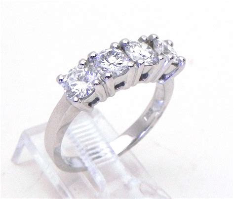 ladies diamond  white gold  cts  stone band ring