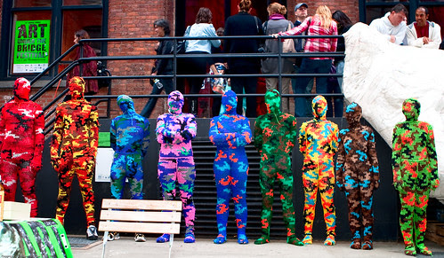 The Line Up / 100% Acrylic Art Guards by Agata Olek / Dumbo Arts Center: Art Under the Bridge Festival 2009 / 20090926.10D.54790.P1.L1.CC / SML