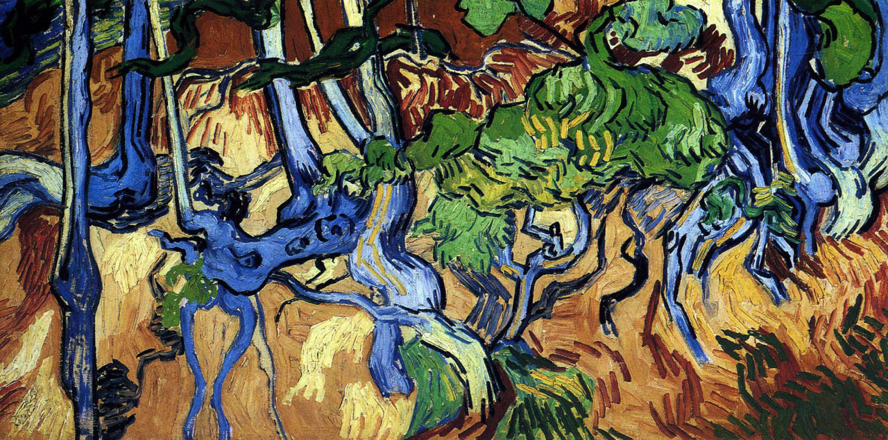 transistoradio:  Vincent van Gogh, Tree Roots (1890), oil on canvas, 100 x 50 cm. Collection of Van Gogh Museum, Amsterdam, Netherlands. Via WikiPaintings.