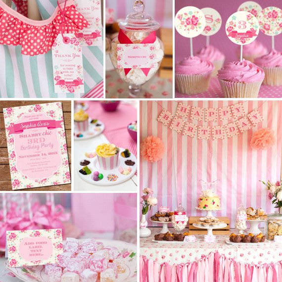 Shabby Chic Floral Birthday Party Decorations Sunshine Parties