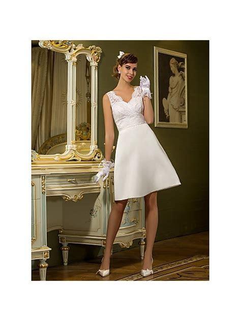 A line Short Satin Lace V neck Wedding dress
