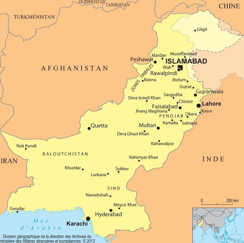 Carte La Chine Ath.Pakistan Carte Carte