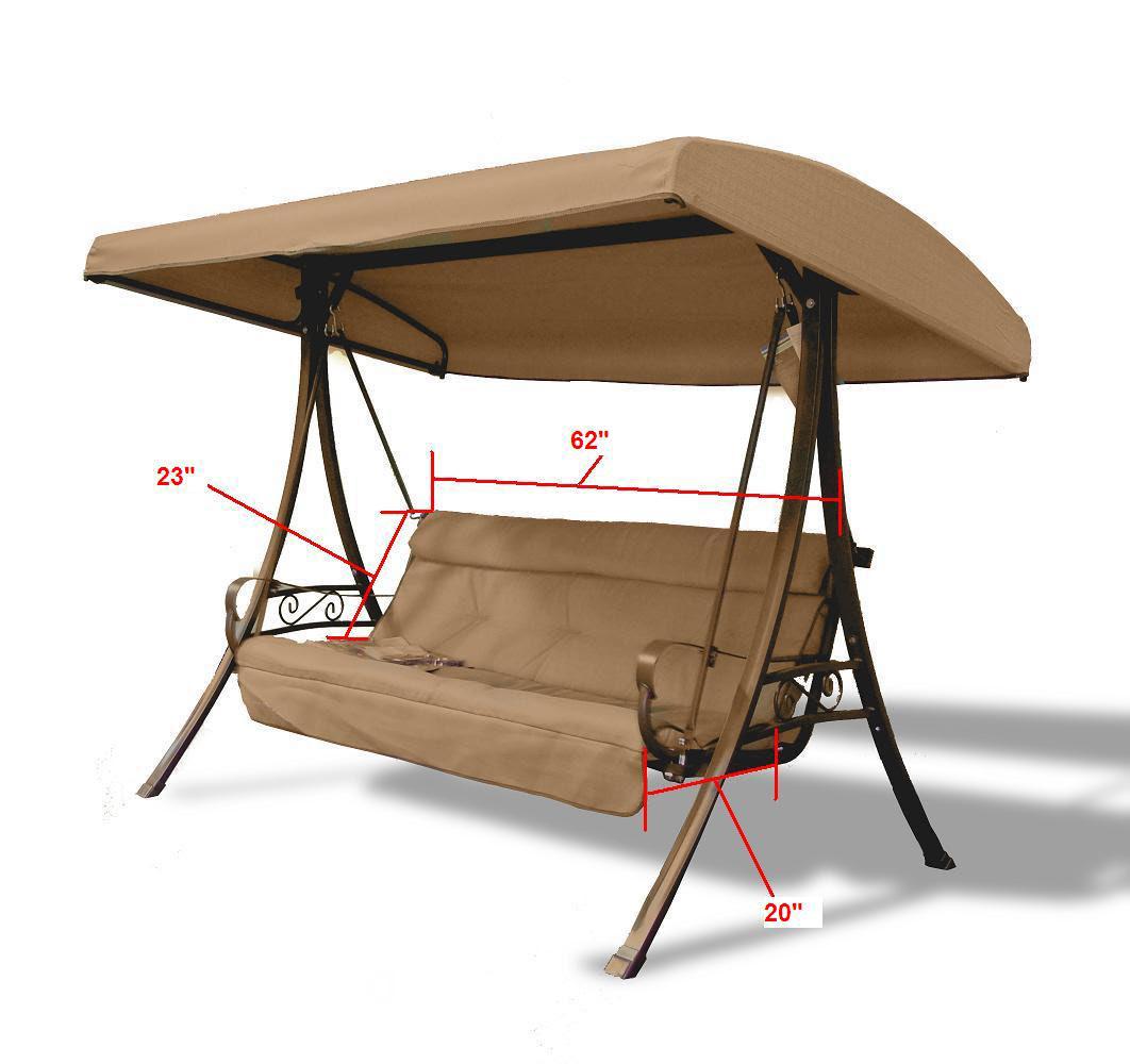 Hampton Bay Charm Patio Swing (3-Person) Replacement Seat ...