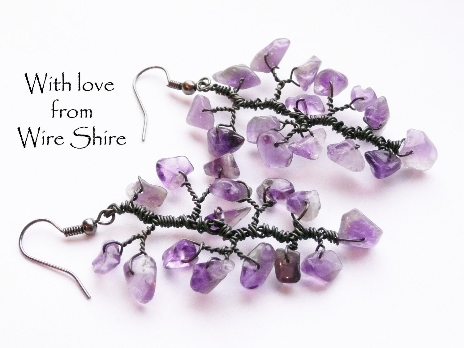 Amethyst Tree Branch Wire Wrapped Earrings