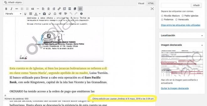 Captura del CMS de OKdiario donde se puede ver una manipulación del texto original ('Esta cuenta es de Iglesias,...') y la persona que hizo el cambio.