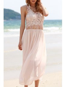 Lace Chiffon Spliced Sleeveless Maxi Dress