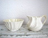Vintage Belleek Creamer and Sugar Bowl - Double Shell Pattern - Irish Fine China - dovetailvintage