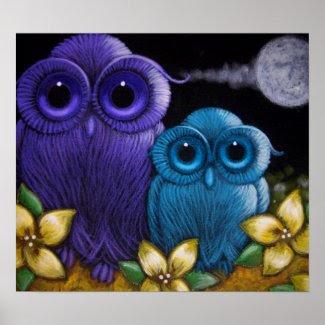 2 FANTASY OWLS Poster print