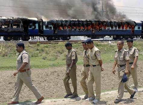Train set ablaze