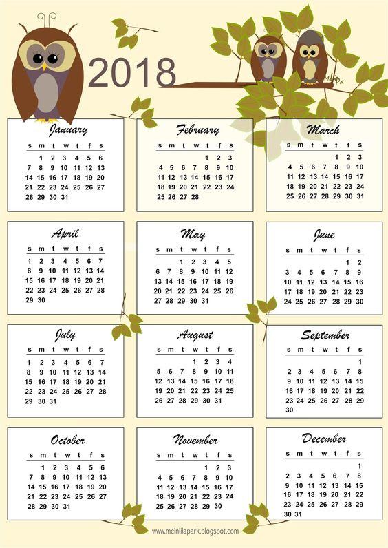 FREE printable 2018 calendar   one page   bulletin cards