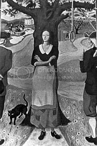 image of the hanging of Bathsheba Spooner, who conspired to murder her husband after she became pregnant by her teenaged lover
