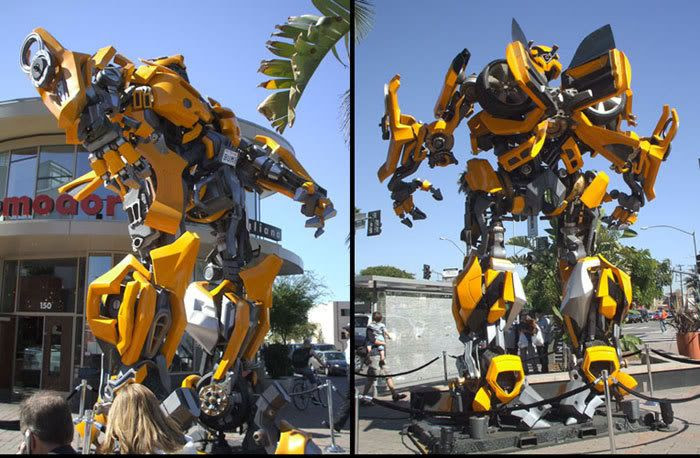 Photos I took of BUMBLEBEE standing tall outside a Hollywood shopping plaza.