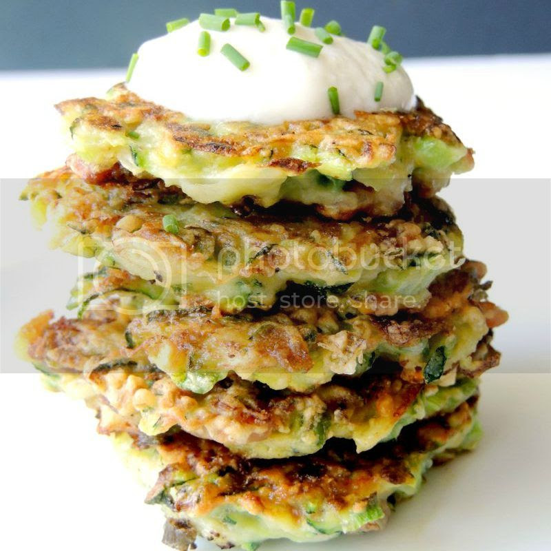 Zucchini Fritters with Bacon and Cheese from www.bobbiskozykitchen.com