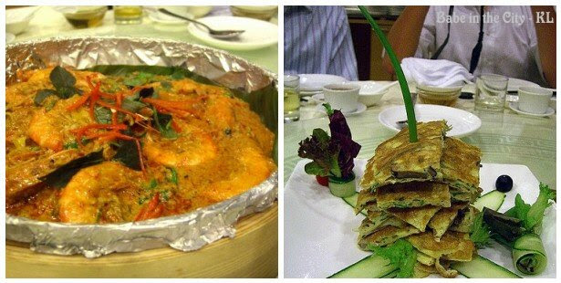 Stir-fried Prawns With Special Curry & Egg Omelette With Crabmeat
