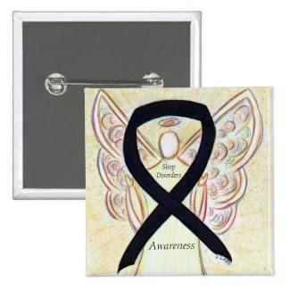 Sleep Disorders Awareness Angel Black Ribbon Pin