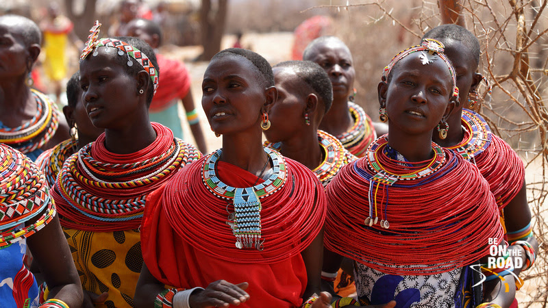 Samburu Women welcome the tourists into their village