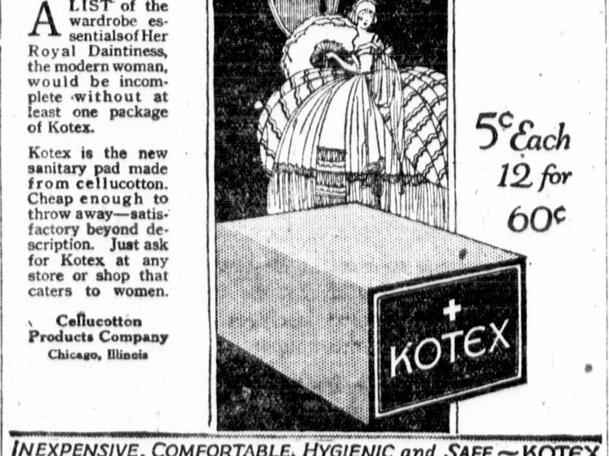 Toallas sanitarias Kotex en realidad comenzó como una gasa médica para tratar a los soldados durante la Primera Guerra Mundial enfermeras del Ejército luego adaptaron la guata para fines menstruales. En 1920, Kotex convirtió en el primer producto de consumo de Kimberly-Clark.