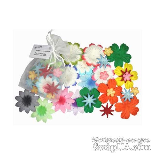 Декоративные бумажные цветочки разных цветов, 2-5 см, 25 шт. - ScrapUA.com