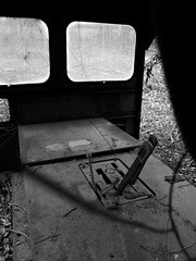 Looking in at an old railroad car(?)