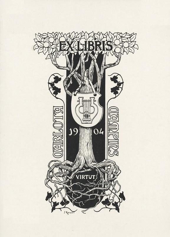stylised 1904 art nouveau ex libris illustration plate