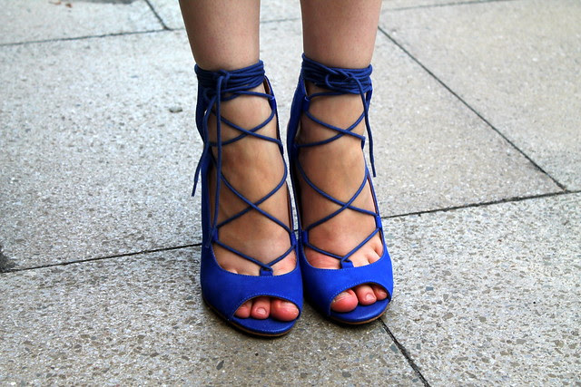 River island blue lace up heels