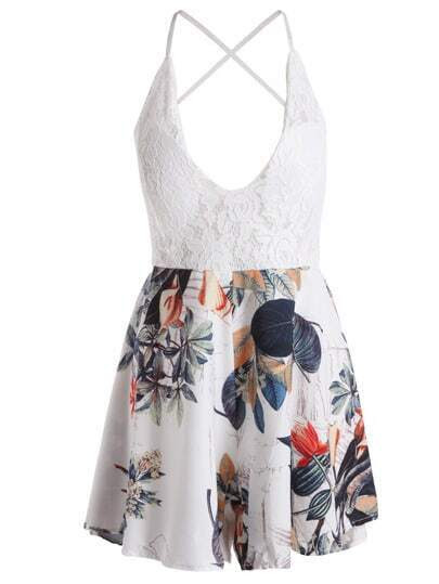 White Spaghetti Strap Backless Floral Jumpsuit pictures
