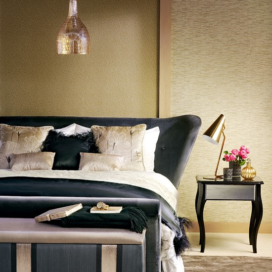 Opulent gold and black bedroom | housetohome.co.uk