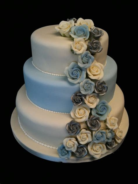 Silver and Blue Roses   Wedding Cakes