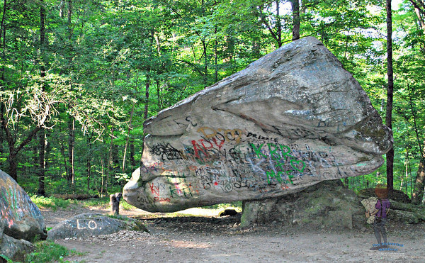 Front of Balance Rock in Pittsfield, MA