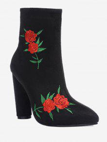 Rose Embroidery Ankle Boots
