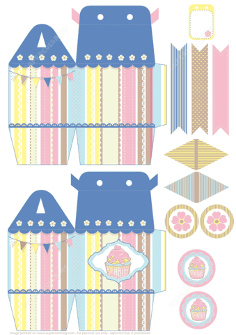 printable cupcake box template to cut out paper craft