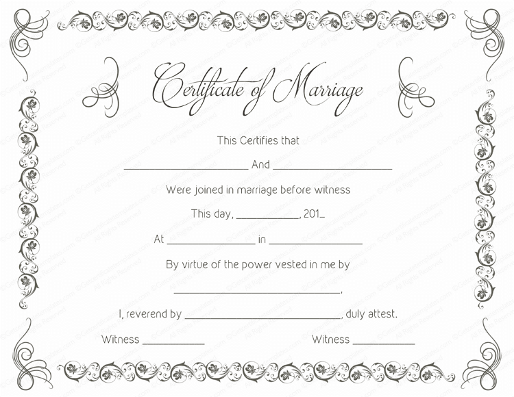 Simple as Gray Marriage Certificate Template PDF