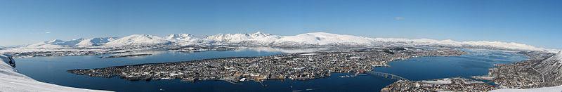 Panoramic view of Tromsø from Fløya