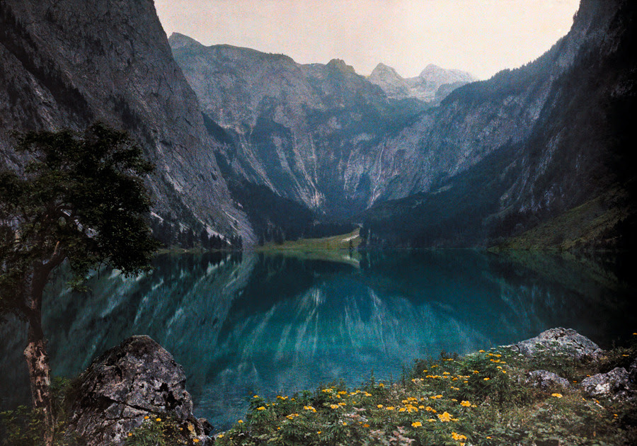 This glacial lake sits between mountains and a wild crag in Bavaria, Germany, December 1928.Photograph by Hans Hildenbrand, National Geographic