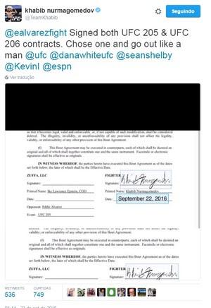 Khabib Nurmagomedov publicou fotos de contratos assinados para luta contra Alvarez em seu Twitter (Foto: Reprodução/ Twitter)
