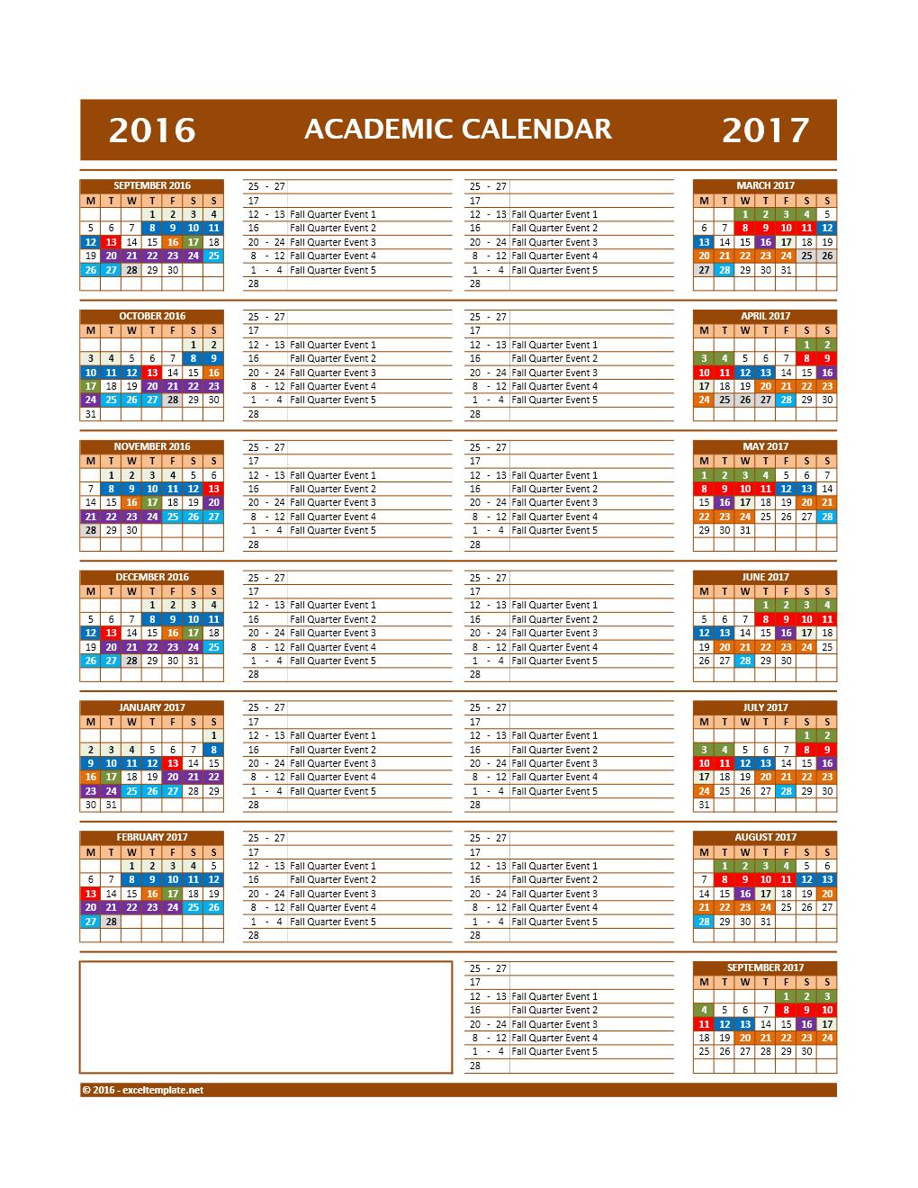 2016 2017 Calendar New Model 12