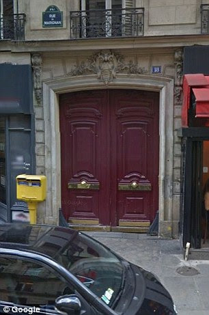 Home sweet home: Madame Claude's former residence at 18 Rue de Marignan (right, the building and left, the road) in Paris was inhabited by statuesque prostitutes who she called her 'swans'