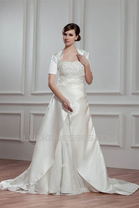 A Line Strapless Beaded Lace Wedding Dresses with A Short