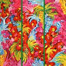 Floral Abstract Triptych by JuliaFineArt