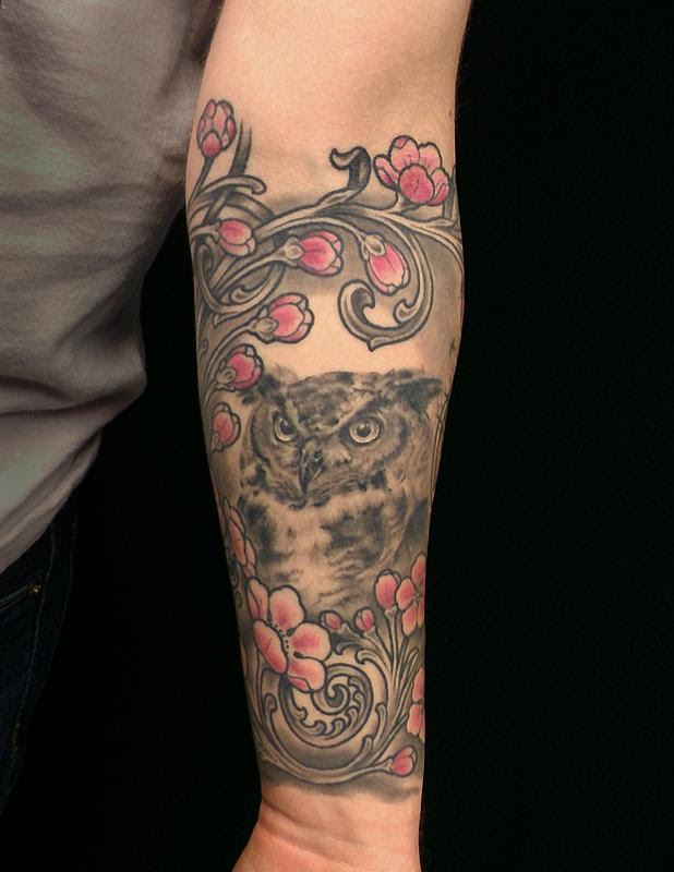 Owl And Cherry Blossoms By Damion Cressy Tattoonow