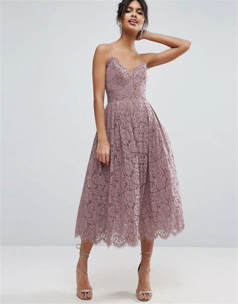 ASOS Lace Cami Midi Prom Dress   Purple by: ASOS @ASOS (US