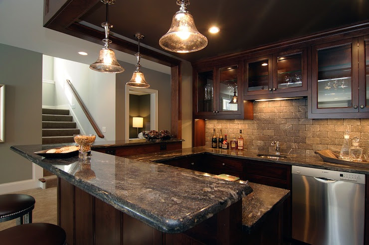 Basement Wet Bar - Traditional - basement - Rubble Tile