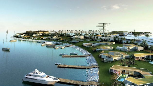 A handout computer generated image released by Real Madrid shows the project of Real Madrid Resort Island
