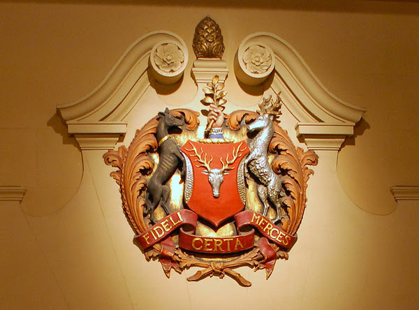 Parker Family Coat of Arms above the School Street entrance.