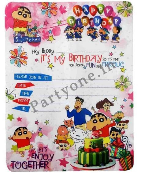 Shinchan Invitation Cards of 10   H 18 cm P1PC000636