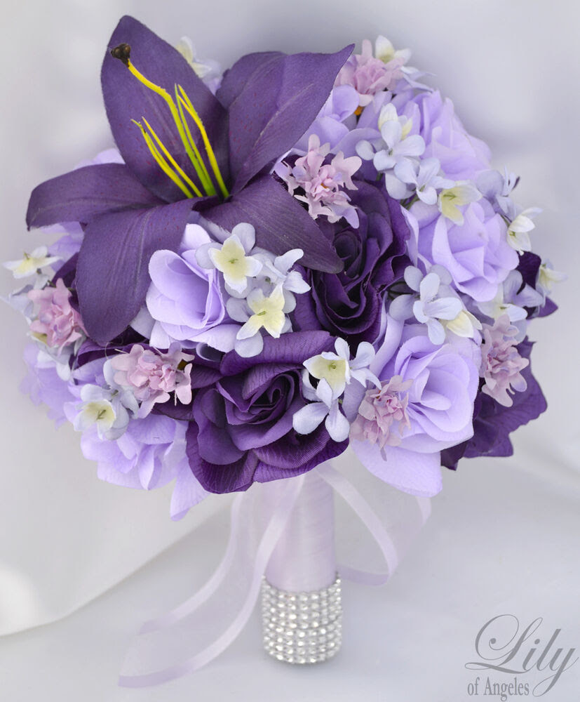 17 Piece Package Wedding Bridal Bouquet Silk Flower Decoration PURPLE LAVENDER  eBay