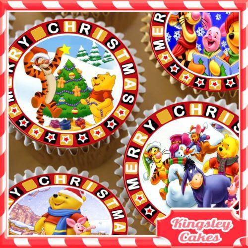 Edible Icing Sheet 24 X Merry Christmas Winnie Pooh Cupcake